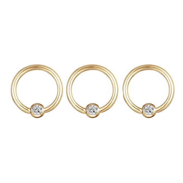 Swarovski Crystal Small Gold Ring Hoop Earring for Cartilage Helix Conch Rook Septum - www.MyBodiArt.com