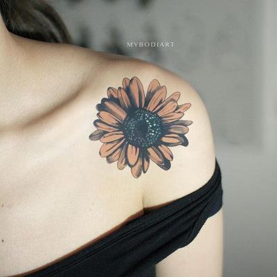 Cute watercolor sunflower floral flower shoulder tattoo ideas for women -  ideas lindas del tatuaje del hombro del girasol para las mujeres - www.MyBodiArt.com #tattoos