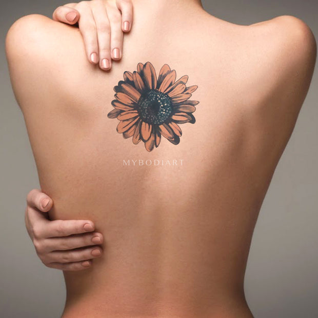Trending Beautiful Watercolor Sunflower Back Tattoo Ideas for Women Temporary Tattoos Sheets -  Ideas de tatuajes para las mujeres - www.MyBodiArt.com
