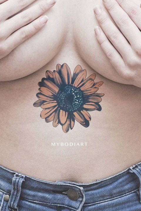 Watercolor Sunflower Sternum Underboob Temporary Tattoo Ideas for Women -  Ideas de tatuajes de flores para mujeres - www.MyBodiArt.com