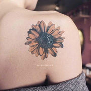 Beautiful Watercolor Sunflower Shoulder Tattoo Ideas for Women Temporary Tattoos Sheets -  Ideas lindas del tatuaje del hombro de la flor para las mujeres - www.MyBodiArt.com