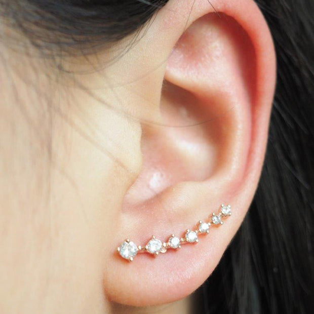Cute Crystal Ear Climber Earring Fashion Jewelry for Women for Teen Girls -  linda oreja de cristal pendiente de joyería de moda - www.MyBodiArt.com