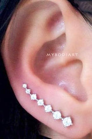 Cute Crystal Ear Climber Earrings for Women Unique Fashion Jewelry - pendientes de trepador lindo para las mujeres  - www.MyBodiArt.com