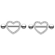 Cute Crystal Heart Nipple Piercing Ring Body Jewelry for Women - www.MyBodiArt.com #nipple