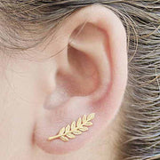 Cute Gold Leaf Feather Ear Climber Earring for Women - www.MyBodiArt.com
