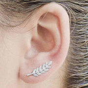 Cute Silver Leaf Feather Ear Climber Earring for Women - www.MyBodiArt.com