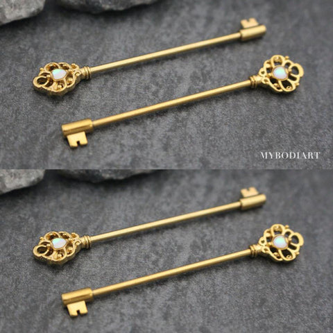 Opal Gold Key Industrial Barbell Piercing Jewelry Scaffold Earring - www.MyBodiArt.com