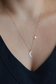 Cute Dainty Modern Moon Pendant Floating Star Necklace for Teenagers for Women Bohemian Fashion Jewelry in Gold or Silver -  collar de estrellas de la luna - www.MyBodiArt.com