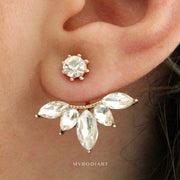 Cute Crystal Leaf Flower Ear Jacket Earring in Rose Gold, Gold Silver Womens Fashion Jewelry - indos aretes para mujer - www.MyBodiArt.com