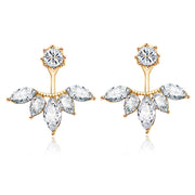 Fancy Starburst Swarovski Crystal Ear Jacket Earring in Silver Rose Gold Gold - www.MyBodiArt.com F
