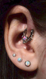 Cute Ear Piercing Ideas - Forward Helix Ring Hoop 16G Silver - Triple Opal Lobe Earring Studs - www.MyBodiArt.com