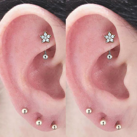Cute Unique Rook Ear Piercing Jewelry Crystal Flower Curved Barbell Earring 16G - www.MyBodiArt.com #rook #piercings