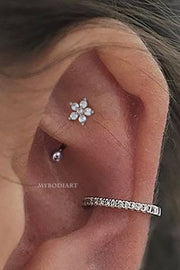 Popular Rook Ear Piercing Ideas - Cute Crystal Flower Curved Barbell 16G - www.MyBodiArt.com #rookpiercing #earring