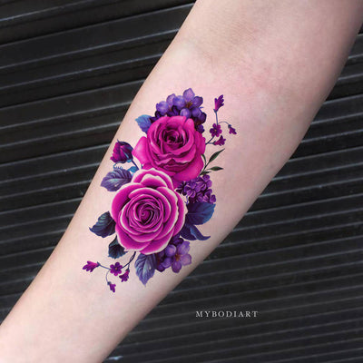 Beautiful Purple Floral Flower Forearm Temporary Tattoo Ideas for Women -  lindas flores púrpuras tatuaje temporal ideas - www.MyBodiArt.com
