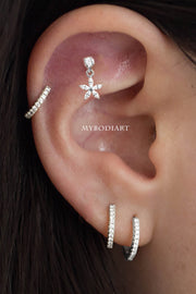 Cute Multiple Ear Piercing Jewelry Ideas for Women Dangle Crystal Flower Earring Stud - www.MyBodiArt.com