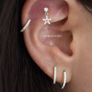 Cute Cartilage Helix Ear Piercing Ideas - Crystal Flower Dangle Jewelry - www.MyBodiArt #earrings
