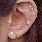 Cute Multiple Dangle Flower Ear Piercing Cartilage Helix Jewelry Earring Studs -  lindas ideas de joyería piercing en la oreja - www.MyBodiArt.com #earrings