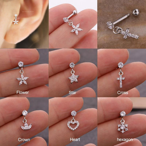 Cute Dangling Charm Ear Piercing Jewelry Barbell Stud Ideas for Women in Silver - www.MyBodiArt.com