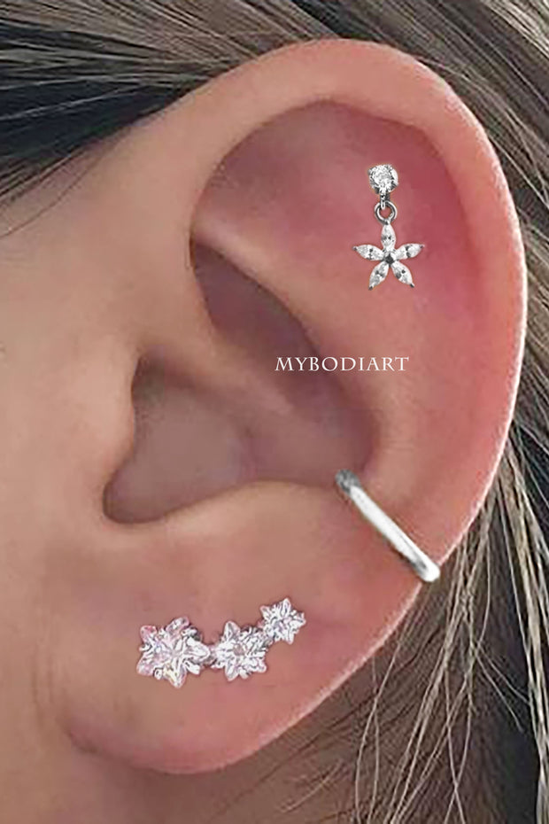 Sparki Triple Crystal Star Cartilage Ear Piercing