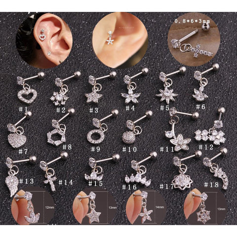 Cute Dangling Crystal Flower Heart Charm Cross Ear Piercing Jewelry Barbell Stud Ideas for Women in Gold 16G - www.MyBodiArt.com