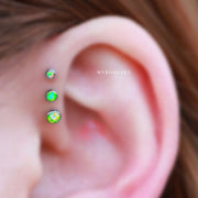Simple Ear Piercing Ideas for Women Triple Lime Green Opal Forward Helix Earring Studs in Silver 16G -  lindas ideas para perforar orejas para mujeres - www.MyBodiArt.com
