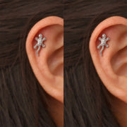 Unique Lizard Cartilage Helix Ear Piercing Ideas Crystal Earring Stud 16G -  ideas de joyería piercing de oreja de lagarto - www.MyBodiArt.com #piercings