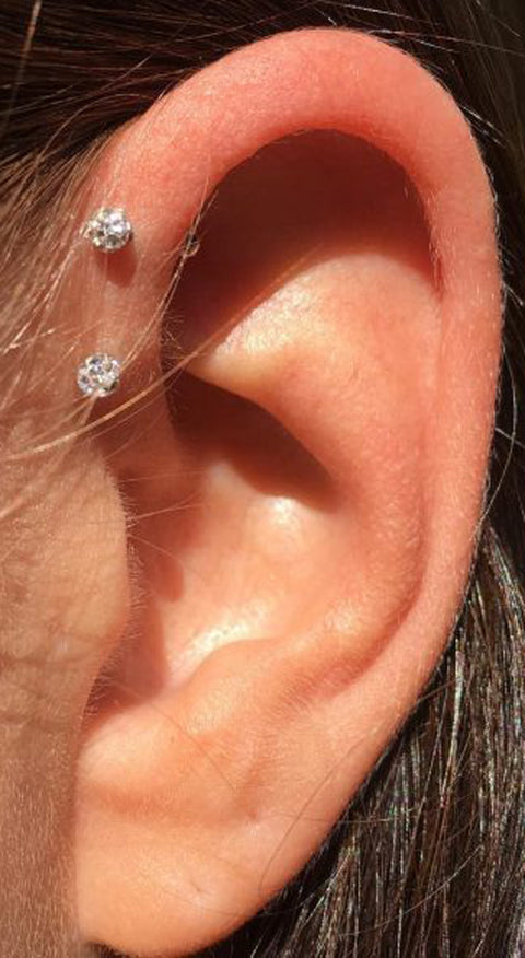Simple Multiple Ear Piercing Ideas Crystal Ball Forward Helix Earring Studs - www.MyBodIArt.com