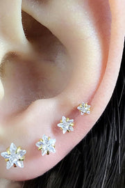 Cute Multiple Ear Piercing Ideas for Women - Crystal Star Cartilage Ear Lobe Helix Conch Earring Stud 16G in Gold - www.MyBodiArt.com #earrings