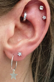 Cute Multiple Ear Piercing Ideas for Teens - Crystal Star Double Cartilage Jewelry Studs Rook Hoop Ring - www.MyBodiArt.com