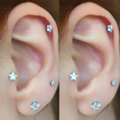 Cute Multiple Ear Piercing Jewelry Ideas for Women - Crystal Star Earring Stud for Tragus Cartilage Helix Conch -  lindas ideas para perforar orejas múltiples - www.MyBodiArt.com