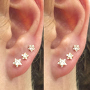 Cute Multiple Ear Piercing Jewelry Ideas Crystal Star Earring Studs for Women Fashion Jewelry - www.MyBodiArt.com