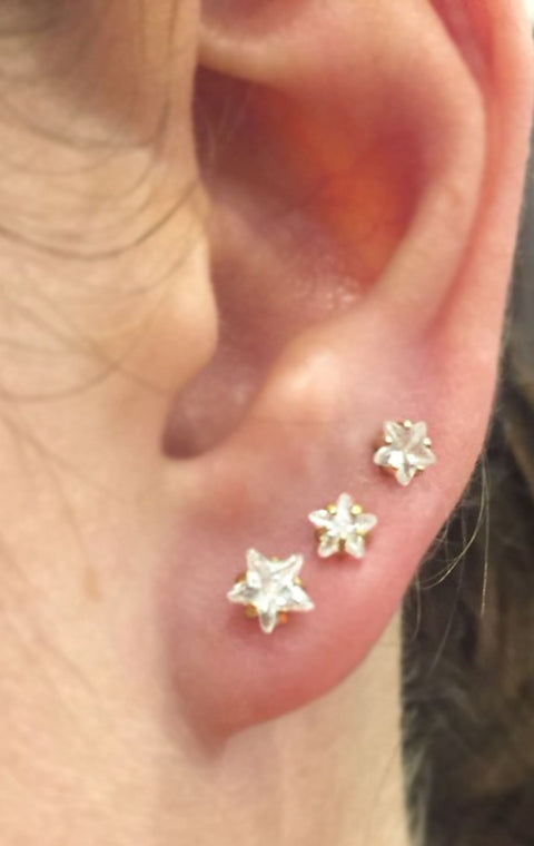 Simple Ear Piercing Ideas - Triple Crystal Star Lobe Earring Stud Jewelry Gold Star - www.MyBodiArt.com