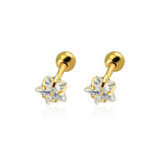 Cute Gold Crystal Star Ear Piercing Jewelry Ideas for Tragus Cartilage Helix Conch Earring Stud  - www.MyBodiArt.com