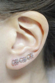 Cute Elephant Ear Climber Earring Studs for Women Fashion Jewelry - www.MyBodiArt.com