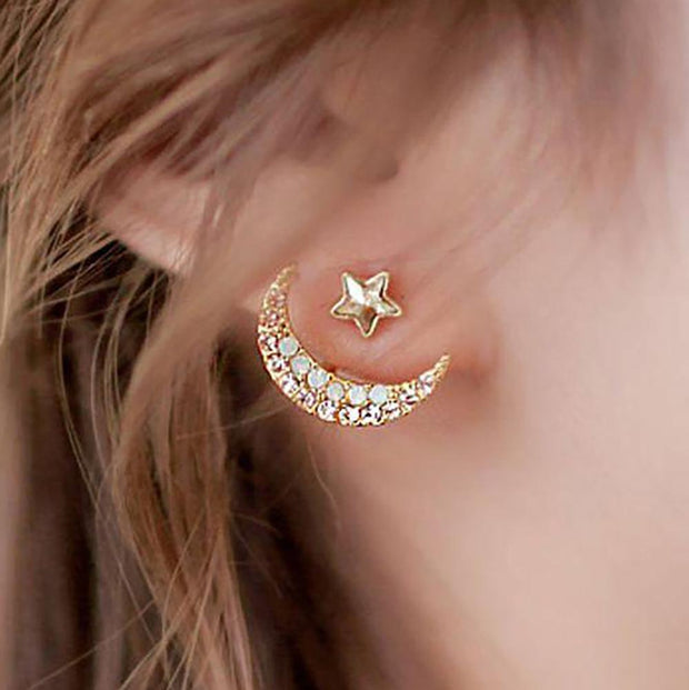 Cute Star and Moon Ear Jacket Earring in Gold for Women Fashion Jewelry - www.MyBodiArt.com