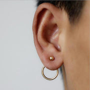 Minimalist Wire Ball Earring Studs Ear Jacket in Gold - www.MyBodiArt.com