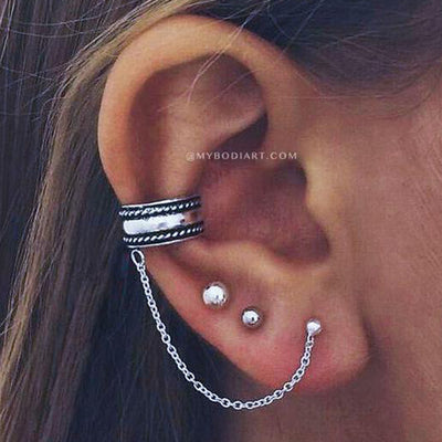 Cute Multiple Conch Ear Piercing Ideas for Women Chain Ear Cuff Earring Set -  ideas de piercing de oreja para las mujeres - www.MyBodiArt.com