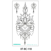 Boho Tribal Lotus Floral Flower Linework Temporary Tattoo Ideas for Women - www.MyBodiArt.com