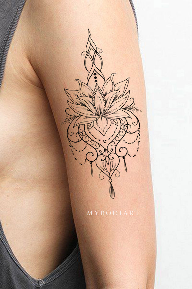 Beautiful Boho Tribal Lotus Floral Flower Linework Temporary Arm Sleeve Tattoo Ideas for Women - www.MyBodiArt.com