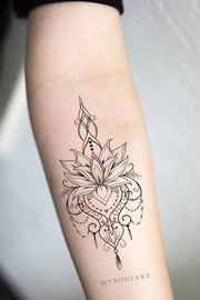 Beautiful Boho Tribal Lotus Floral Flower Linework Temporary Forearm Tattoo Ideas for Women - www.MyBodiArt.com