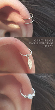 Simple Minimal Cartilage Helix Ear Piercing Jewelry Opal Hoop Earring -  lindas ideas de joyas para mujeres - www.MyBodiArt.com #earrings