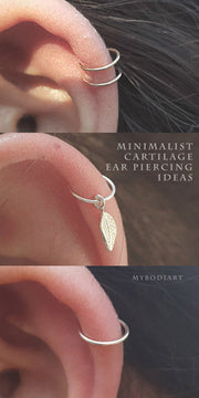 Cute Minimalist Simple Cartilage Helix Ear Piercing Jewelry Ideas for Women in Gold or Silver Single -  perforación mínima del oído del cartílago - www.MyBodiArt.com #earrings