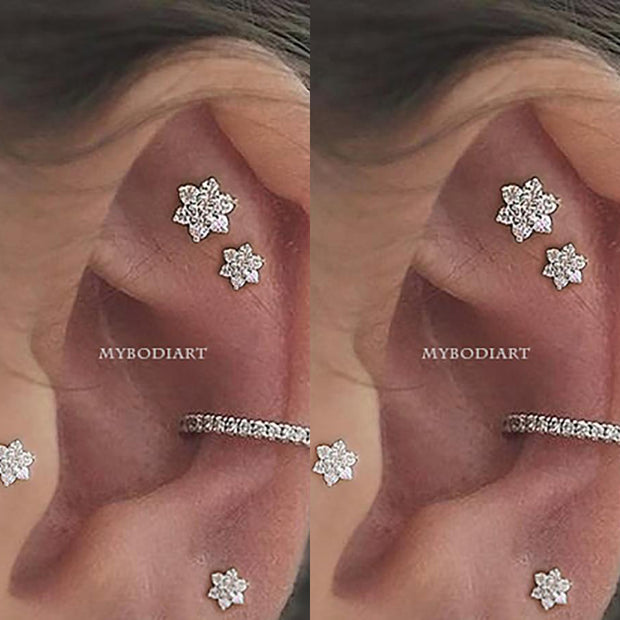 Cute Multiple Flower Cartilage Helix Ear Piercing Jewelry Ideas for Women - www.MyBodiArt.com #earrings
