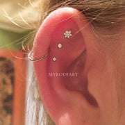 Cute Triple Cartilage Helix Ear Piercing Jewelry Ideas for Women -  ideas de joyería piercing en la oreja - www.MyBodiArt.com #earring #piercings