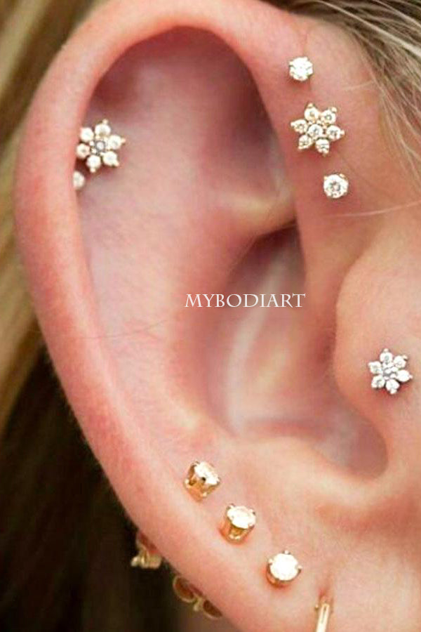 Cute Creative Multiple Cartilage Helix Tragus Ear Piercing Jewelry Ideas Crystal Flower Earring Stud for Teens- www.MyBodiArt.com