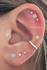 Multiple Ear Piercing Ideas Cute Flower Jewelry for Helix Cartilage Tragus Earring Studs 16G Silver - www.MyBodiArt.com