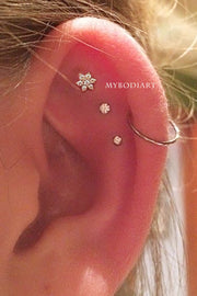 Cute Small Triple Cartilage Helix Ear Piercing Jewelry Ideas for Women - Crystal Flower Earring Stud - www.MyBodiArt.com #piercings