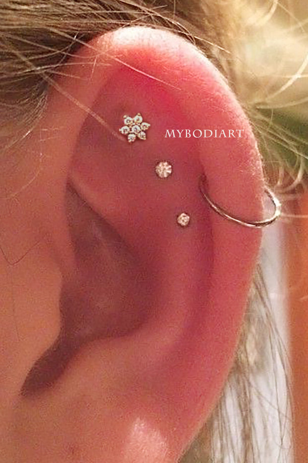 Cute Triple Cartilage Helix Ear Piercing Ideas for Women Round Crystal Earring Stud 16G - www.MyBodiArt.com