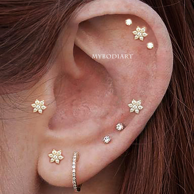 Cute Multiple Ear Piercings Cartilage Helix Tragus Earlobe Crystal Stud Earring Jewelry Ideas - www.MyBodiArt.com #piercings