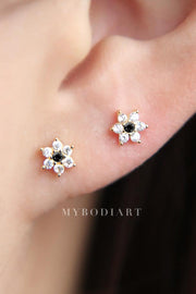Cute Dainty Minimal Crystal Flower Ear Piercing Earring Fashion Jewelry for Women for Lobe Cartilage Tragus Helix Conch in Gold and Black - www.MyBodiArt.com